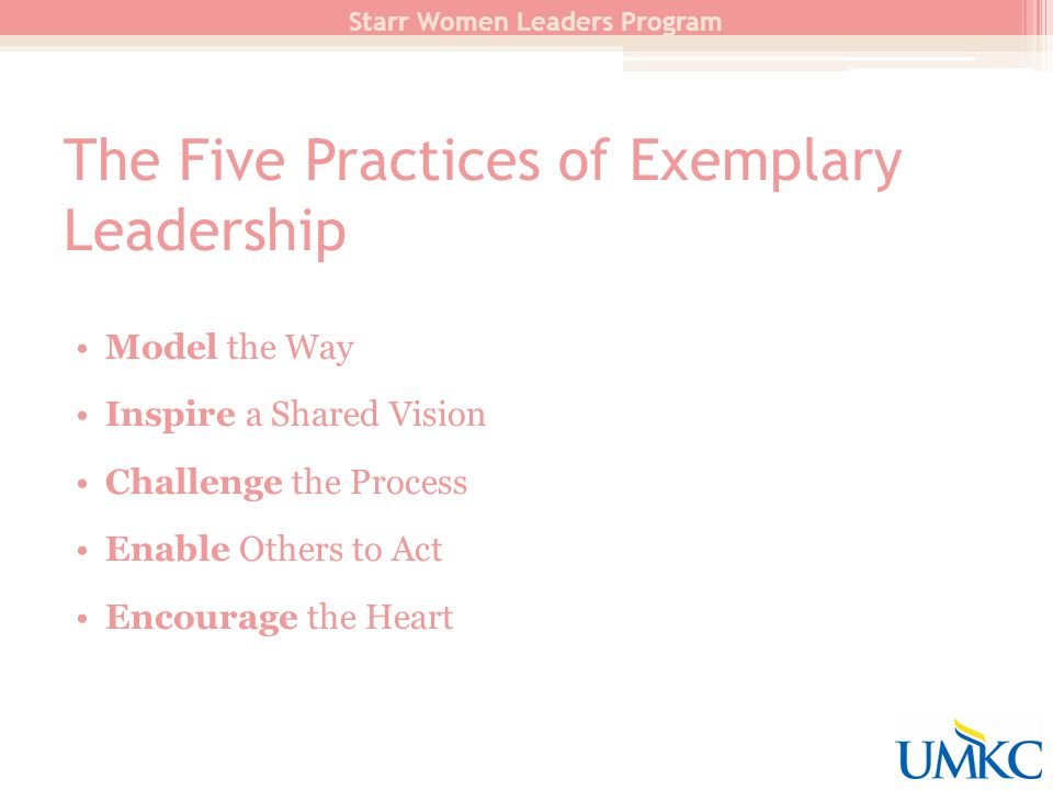 The Five Practices of Exemplary Leadership Starr Women Leaders Program Model the Way Inspire a Shared Vision Challenge the Process Enable Others to Act Encourage the Heart