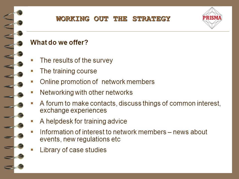 START BUILDING UP THE NETWORK  Invite the business who took part in the survey to become members.