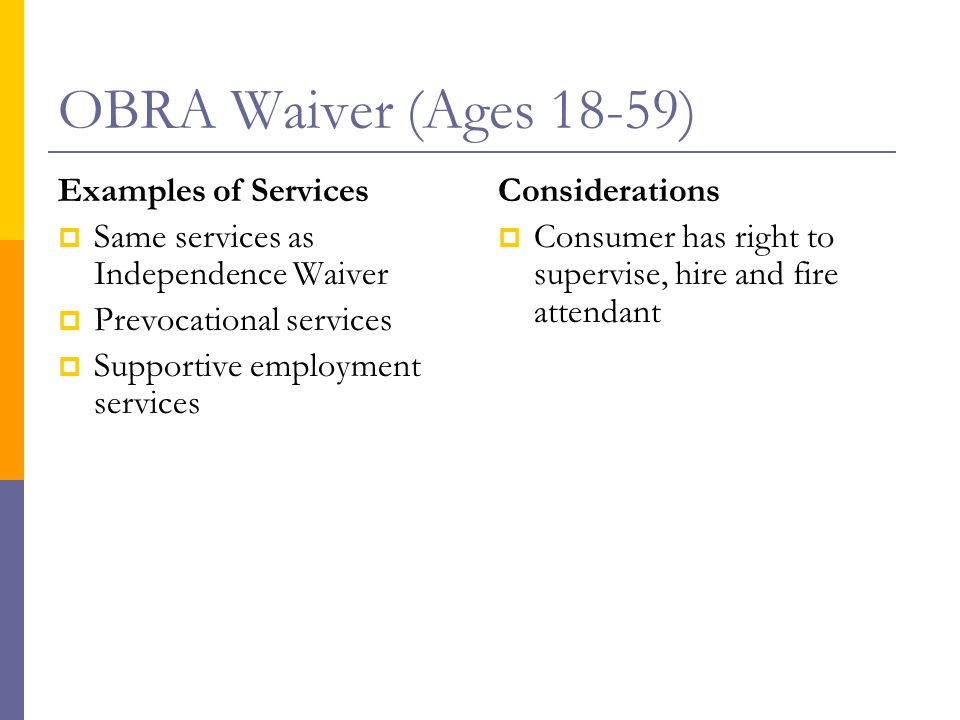 OBRA Waiver (Ages 18-59) Examples of Services  Same services as Independence Waiver  Prevocational services  Supportive employment services Considerations  Consumer has right to supervise, hire and fire attendant