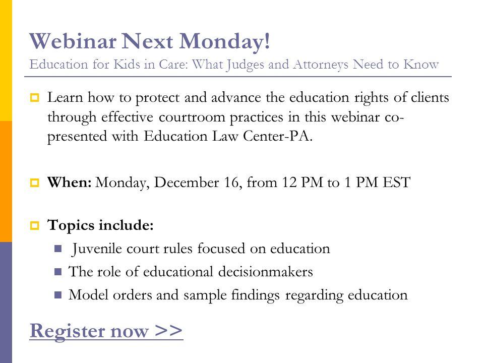 Webinar Next Monday.