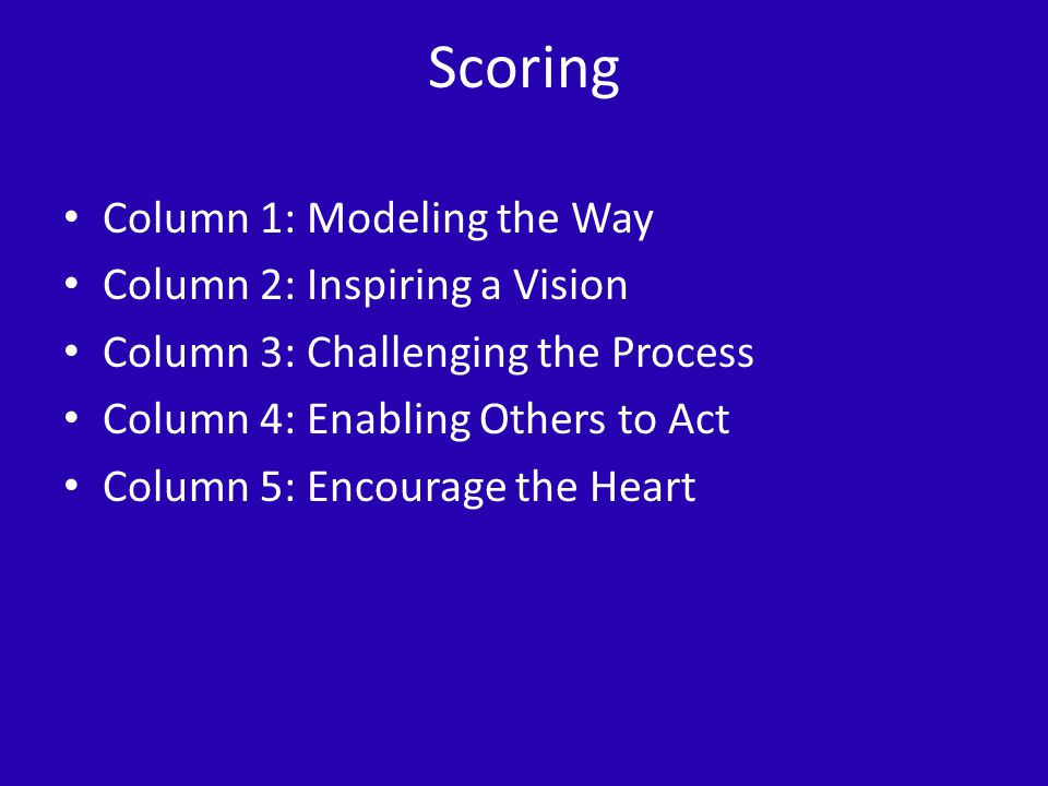Scoring Column 1: Modeling the Way Column 2: Inspiring a Vision Column 3: Challenging the Process Column 4: Enabling Others to Act Column 5: Encourage the Heart