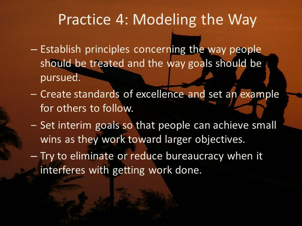 Practice 4: Modeling the Way – Establish principles concerning the way people should be treated and the way goals should be pursued.