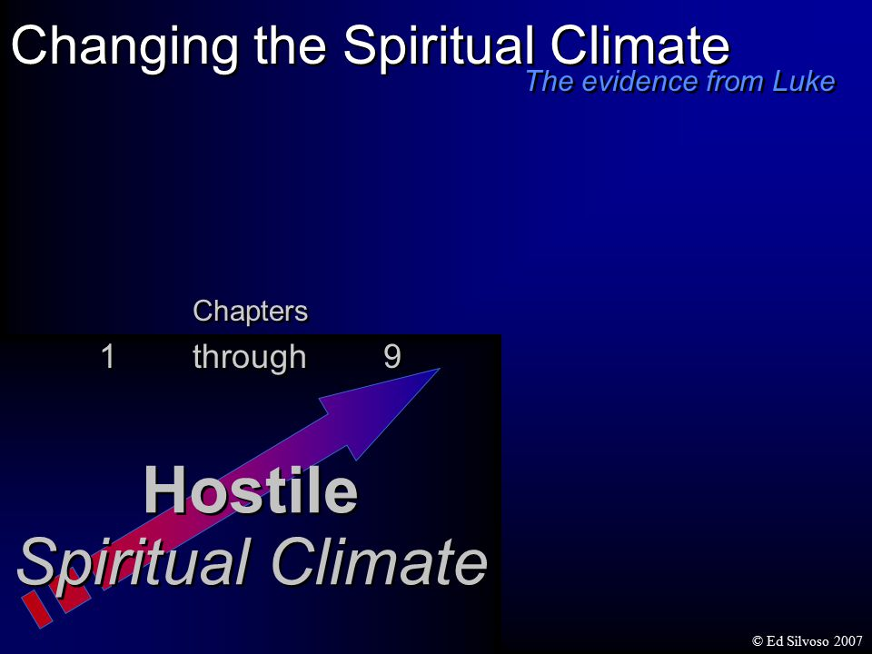 Changing the Spiritual Climate Hostile Spiritual Climate Hostile Spiritual Climate Chapters 1 through 9 Chapters 1 through 9 The evidence from Luke © Ed Silvoso 2007