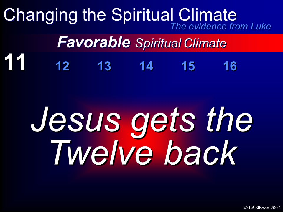 11 12 13 14 15 16 Favorable Spiritual Climate Changing the Spiritual Climate The evidence from Luke Jesus gets the Twelve back Jesus gets the Twelve back © Ed Silvoso 2007