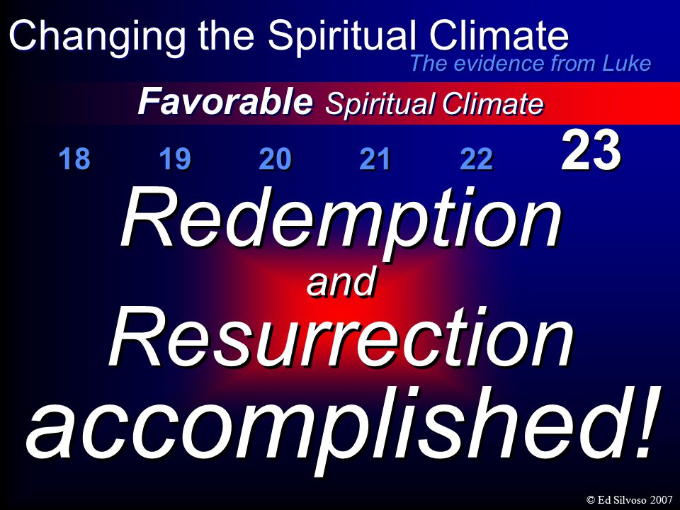 18 19 20 21 22 23 Favorable Spiritual Climate Changing the Spiritual Climate Redemption and Resurrection accomplished.