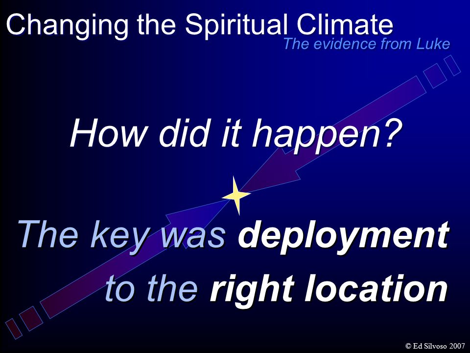 How did it happen? The key was deployment to the right location The key was deployment to the right location Changing the Spiritual Climate The eviden