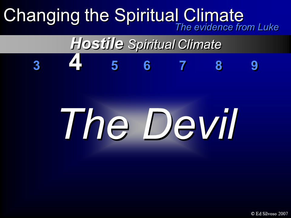 3 4 5 6 7 8 9 Changing the Spiritual Climate The evidence from Luke The Devil Hostile Spiritual Climate © Ed Silvoso 2007