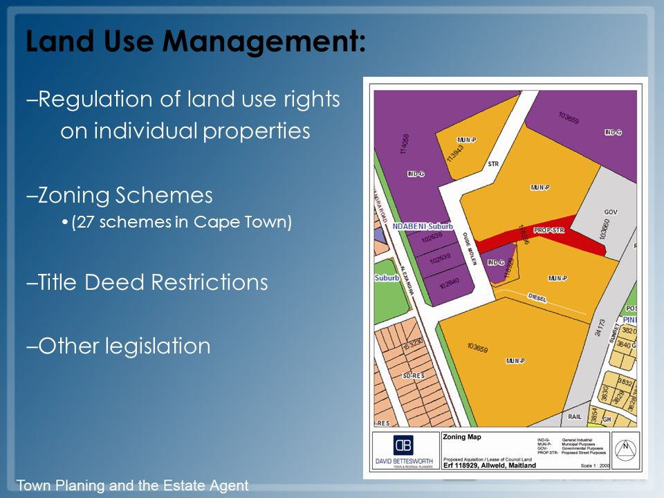 Land Use Management: –Regulation of land use rights on individual properties –Zoning Schemes (27 schemes in Cape Town) –Title Deed Restrictions –Other