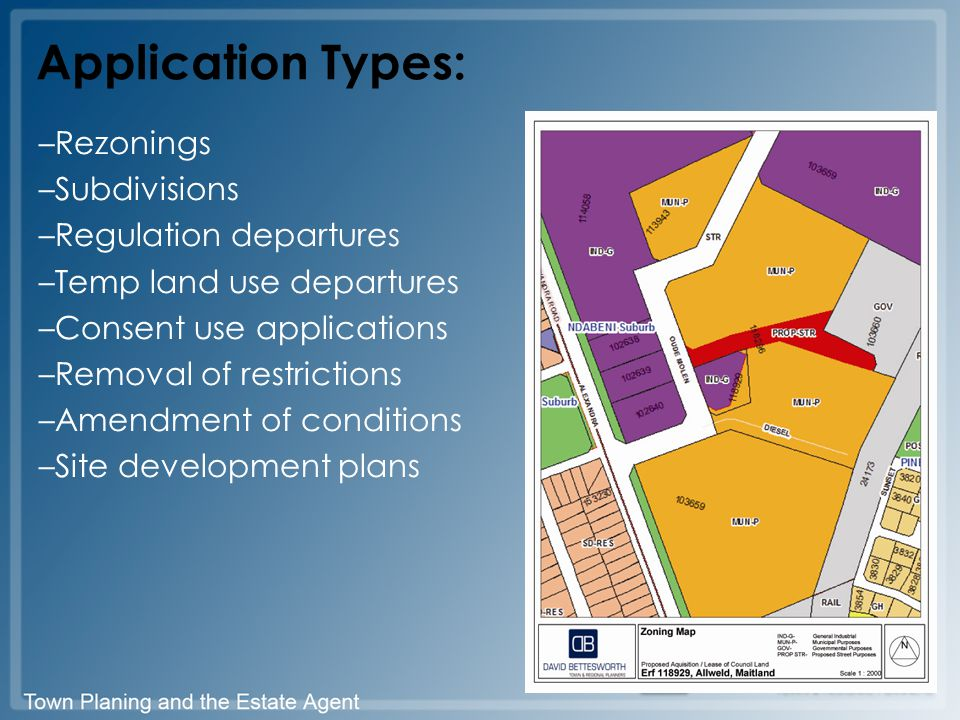 Application Types: –Rezonings –Subdivisions –Regulation departures –Temp land use departures –Consent use applications –Removal of restrictions –Amendment of conditions –Site development plans