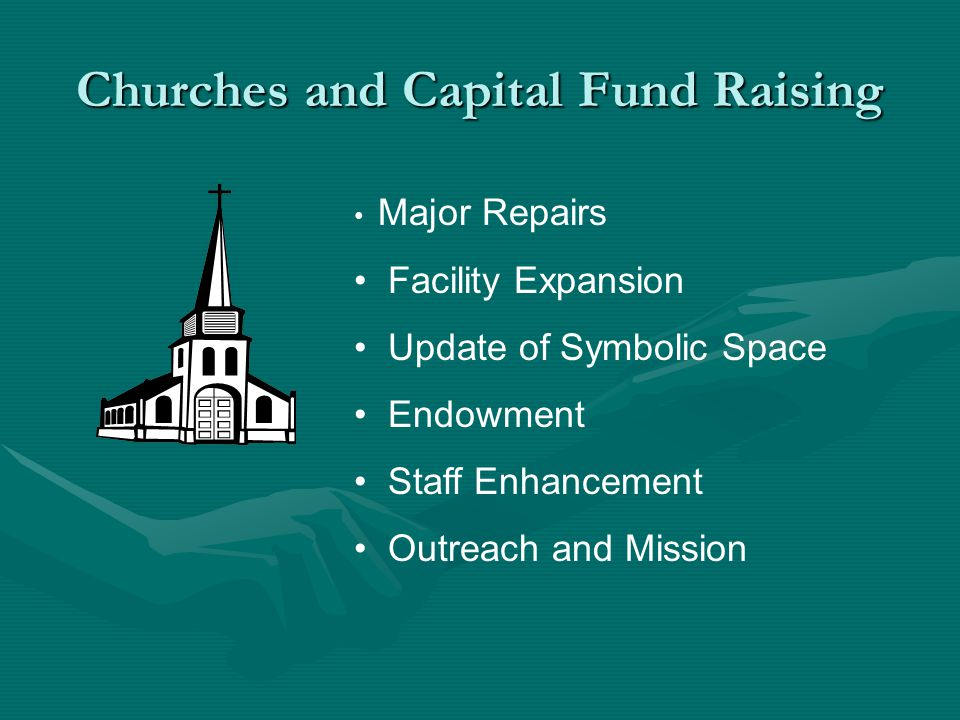 Churches and Capital Fund Raising Major Repairs Facility Expansion Update of Symbolic Space Endowment Staff Enhancement Outreach and Mission