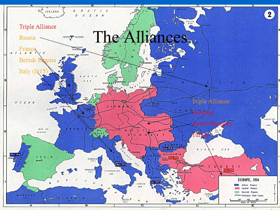 Triple Alliance Russia France British Empire Italy (l915) Triple Alliance: Germany Austro-Hungary Turkey The Alliances