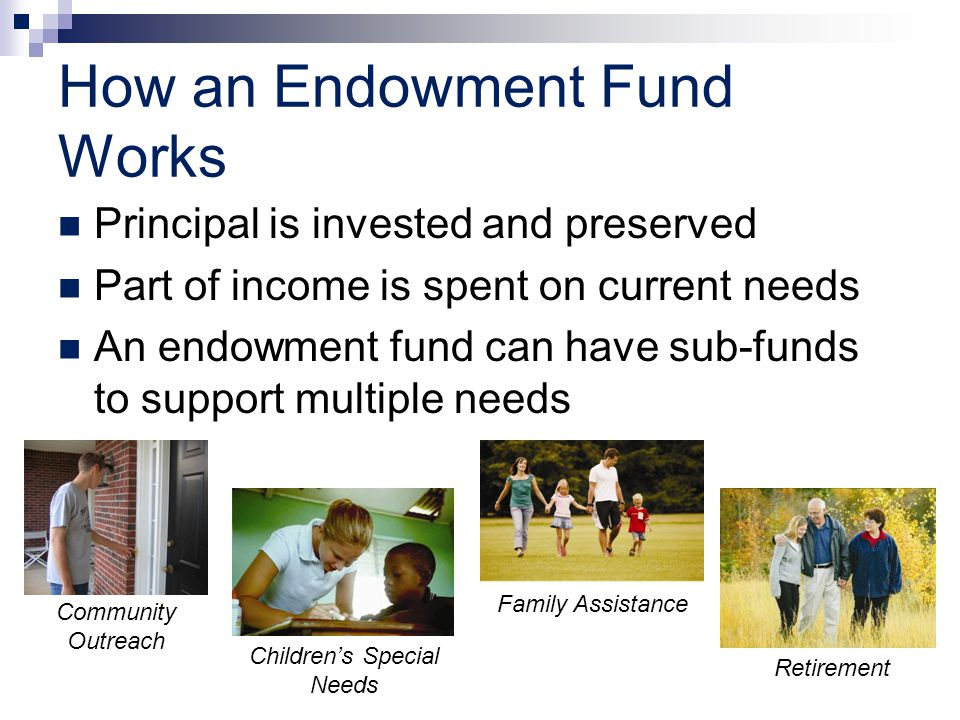 How an Endowment Fund Works Principal is invested and preserved Part of income is spent on current needs An endowment fund can have sub-funds to suppo