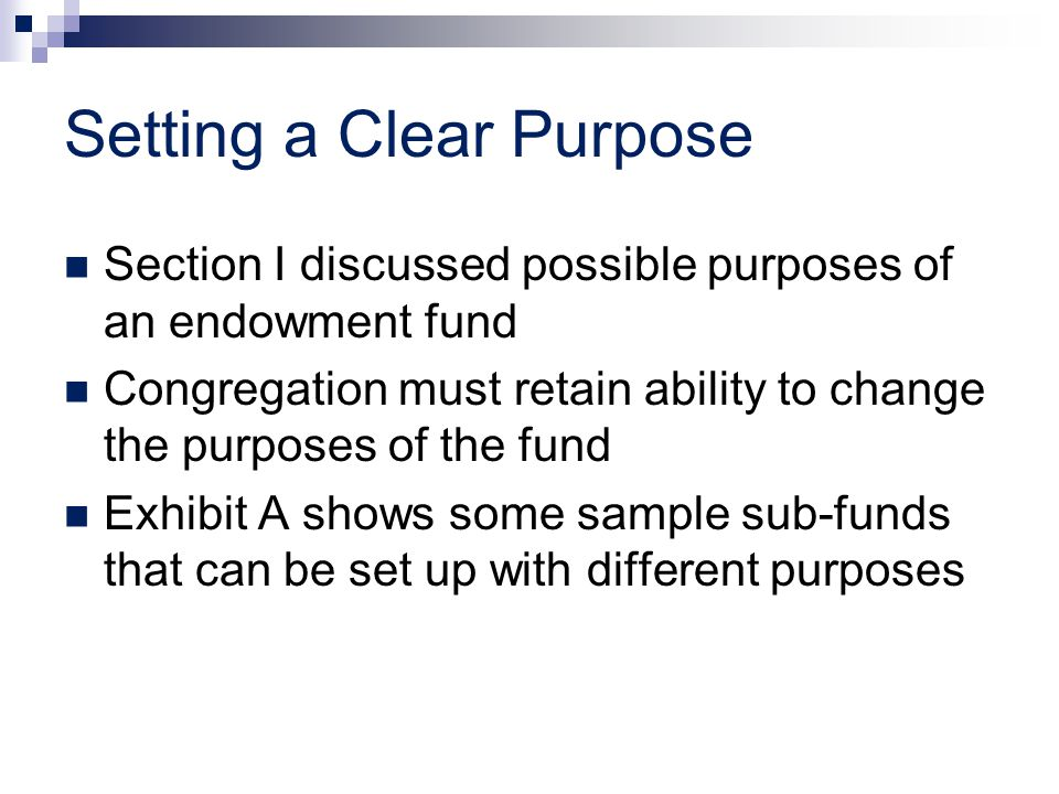 Setting a Clear Purpose Section I discussed possible purposes of an endowment fund Congregation must retain ability to change the purposes of the fund Exhibit A shows some sample sub-funds that can be set up with different purposes