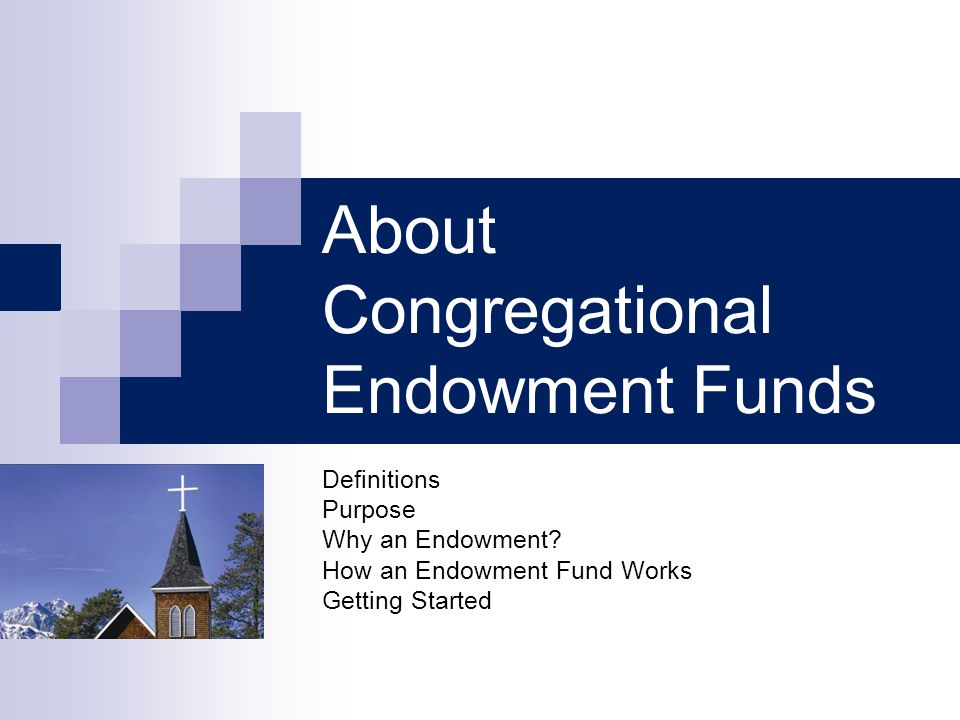 About Congregational Endowment Funds Definitions Purpose Why an Endowment? How an Endowment Fund Works Getting Started