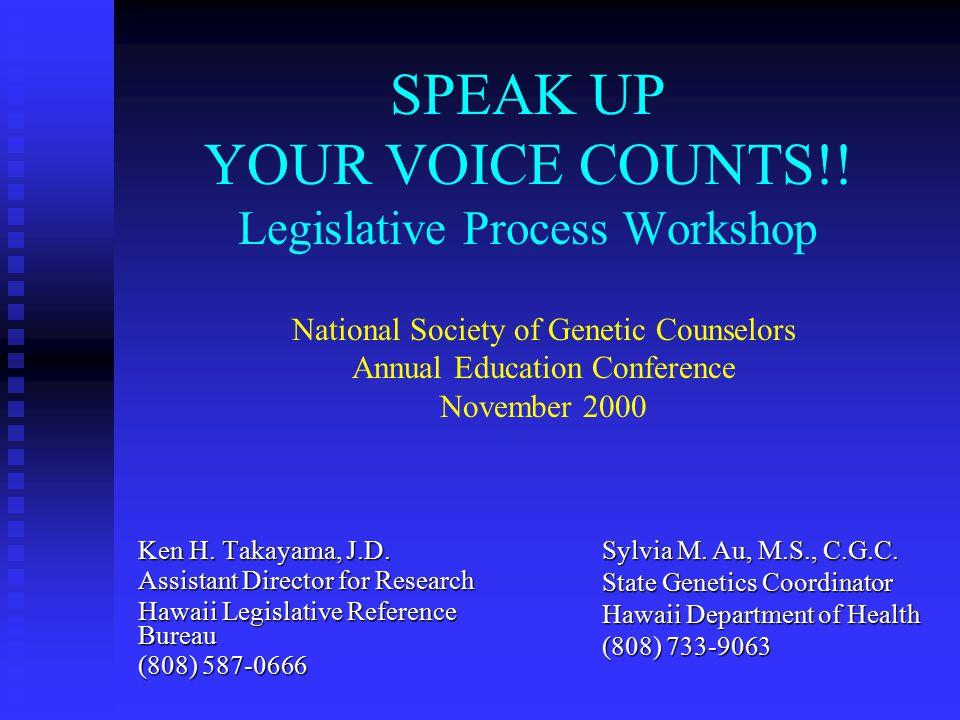 SPEAK UP YOUR VOICE COUNTS!.Legislative Process Workshop Ken H.