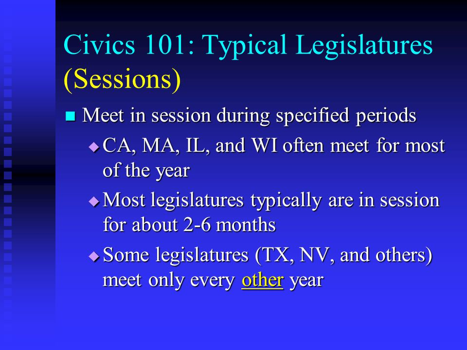 Civics 101: Typical Legislatures (Structure) Consists of two houses: Senate and House of Representatives (sometimes also referred to as the Assembly) Consists of two houses: Senate and House of Representatives (sometimes also referred to as the Assembly) Have members who are elected to represent districts Have members who are elected to represent districts Are organized along partisan lines (i.e.