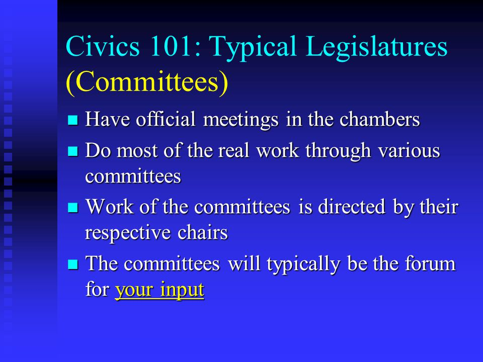 The Legislative Process For a general overview, materials may be available: For a general overview, materials may be available:  Through your legislature's library  From individual legislators  Your state's (or legislature's) website  Community organizations (e.g.