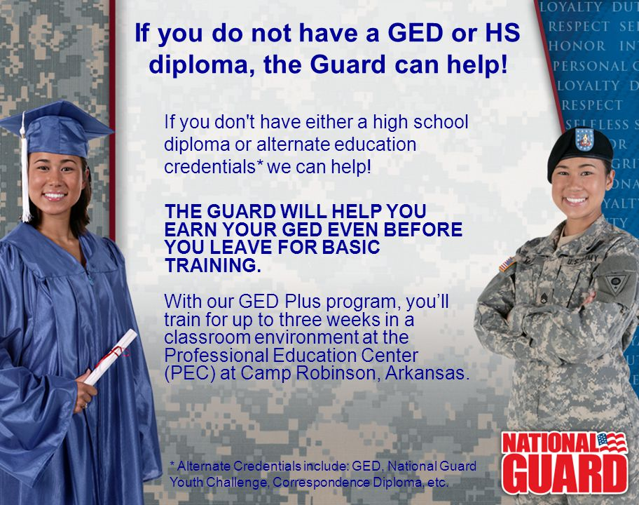 If you do not have a GED or HS diploma, the Guard can help.