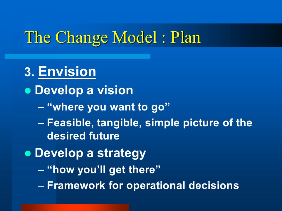 The Change Model : Plan 2.