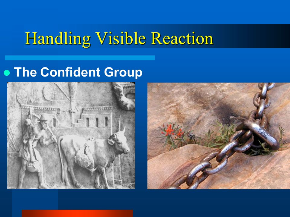 Handling Visible Reaction The Confident Group –This stuff makes sense –When do we get started –We can even have some fun doing it