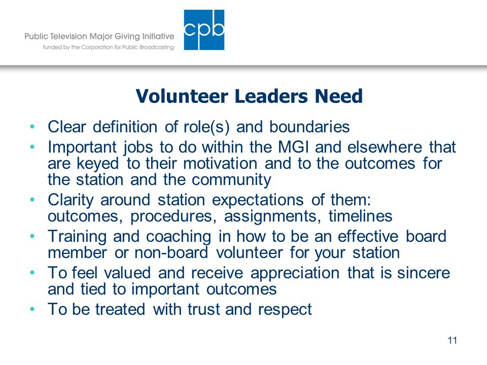 11 Volunteer Leaders Need Clear definition of role(s) and boundaries Important jobs to do within the MGI and elsewhere that are keyed to their motivation and to the outcomes for the station and the community Clarity around station expectations of them: outcomes, procedures, assignments, timelines Training and coaching in how to be an effective board member or non-board volunteer for your station To feel valued and receive appreciation that is sincere and tied to important outcomes To be treated with trust and respect