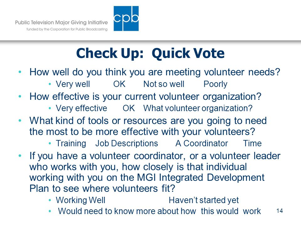 14 Check Up: Quick Vote How well do you think you are meeting volunteer needs.