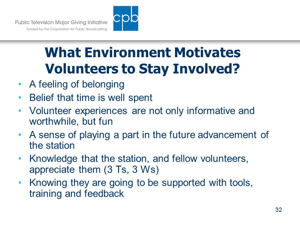 32 What Environment Motivates Volunteers to Stay Involved.