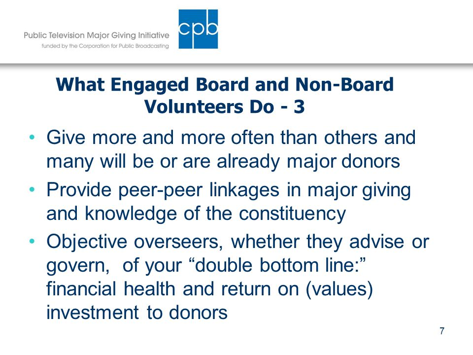 8 Dimensions of Volunteer Leadership for MGI Governing or advisory board(s) Development, fund raising or capital campaign committees Partners in the development process – helping bring potential donors into a relationship with your station Fulfilling the role of Ambassador, Advocate and/or Asker