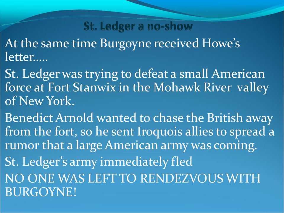 At the same time Burgoyne received Howe's letter…..