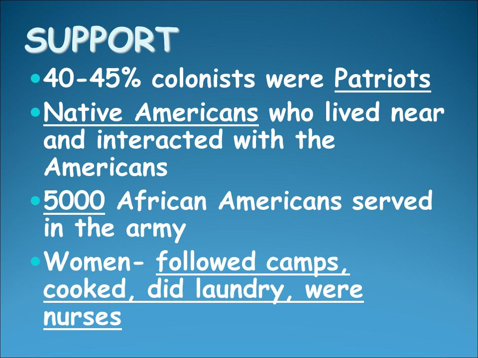 SUPPORT 40-45% colonists were Patriots Native Americans who lived near and interacted with the Americans 5000 African Americans served in the army Women- followed camps, cooked, did laundry, were nurses
