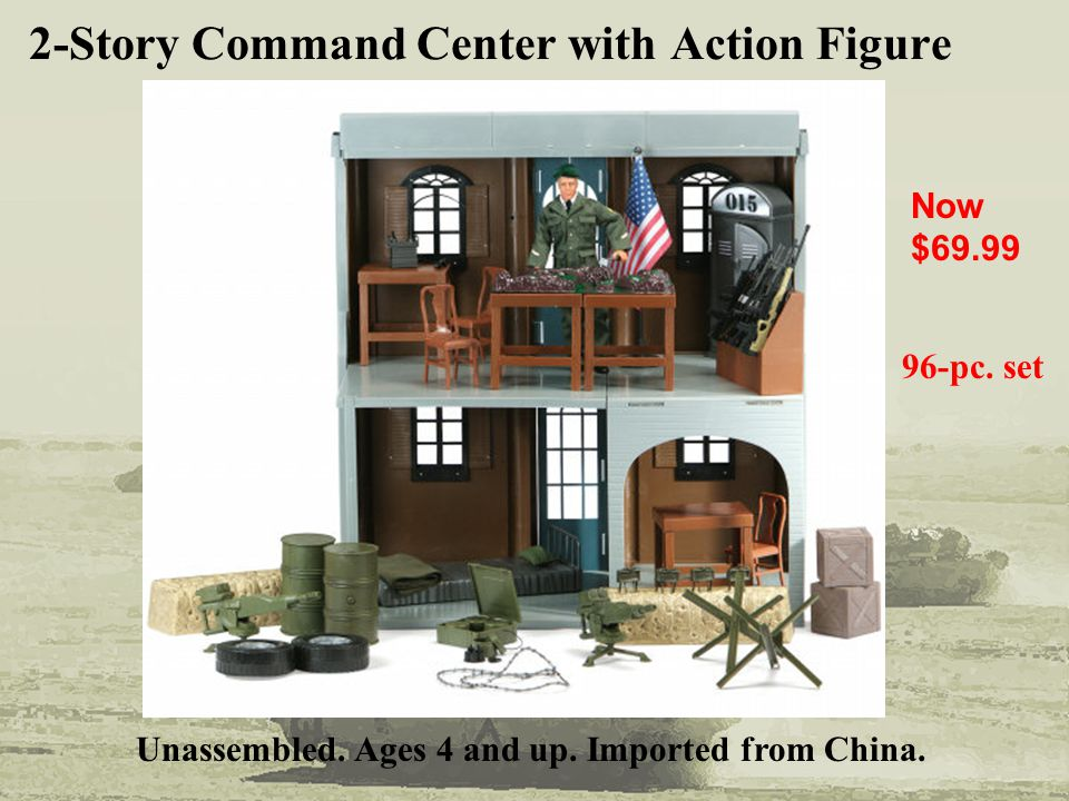 2-Story Command Center with Action Figure Now $69.99 Unassembled. Ages 4 and up. Imported from China. 96-pc. set