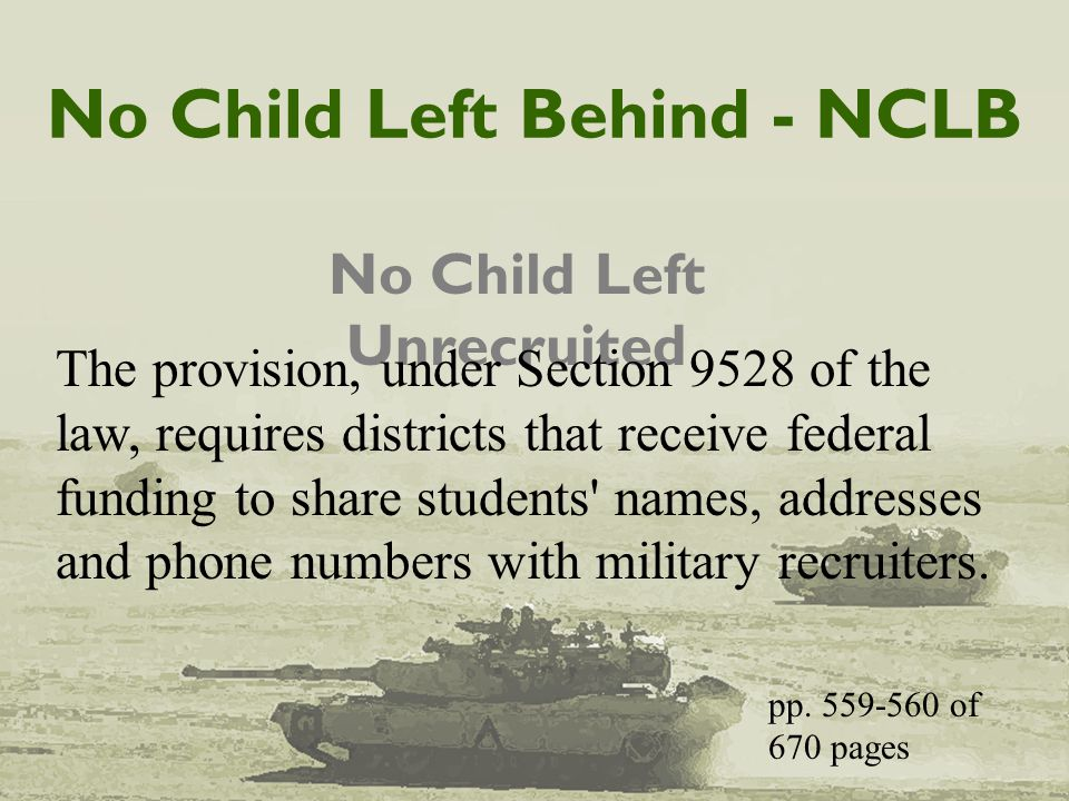 No Child Left Behind - NCLB No Child Left Unrecruited The provision, under Section 9528 of the law, requires districts that receive federal funding to