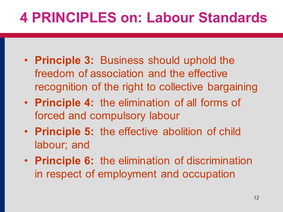 12 4 PRINCIPLES on: Labour Standards Principle 3: Business should uphold the freedom of association and the effective recognition of the right to collective bargaining Principle 4: the elimination of all forms of forced and compulsory labour Principle 5: the effective abolition of child labour; and Principle 6: the elimination of discrimination in respect of employment and occupation