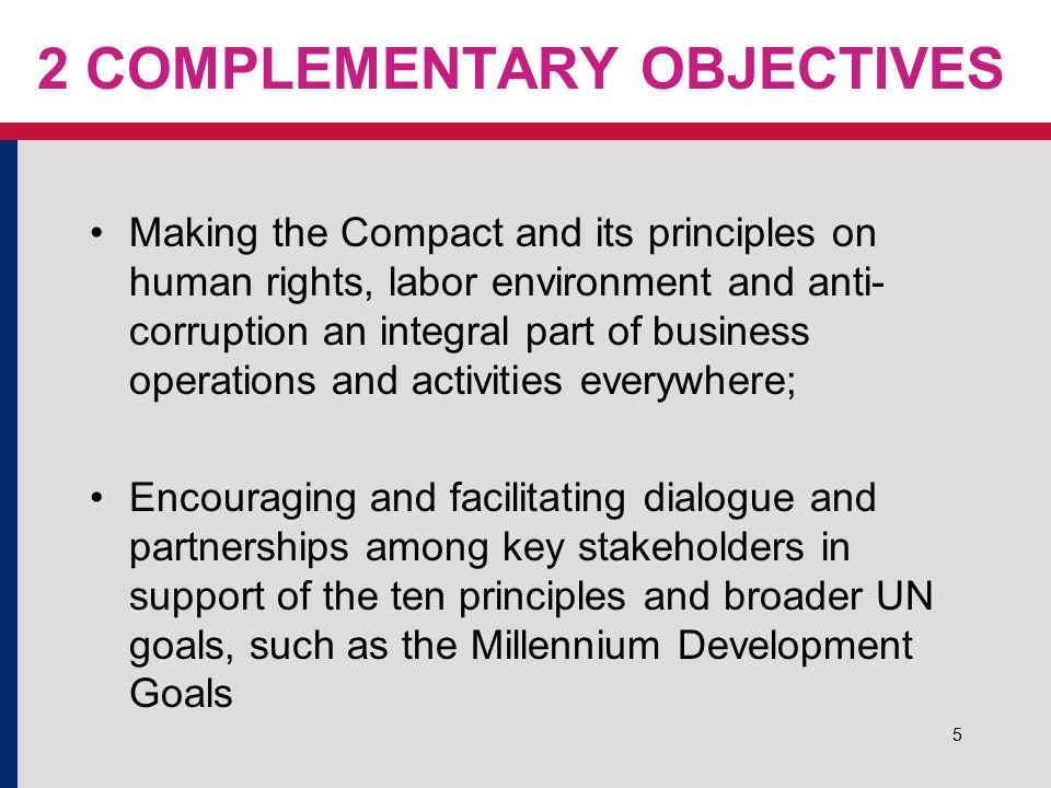 5 2 COMPLEMENTARY OBJECTIVES Making the Compact and its principles on human rights, labor environment and anti- corruption an integral part of busines
