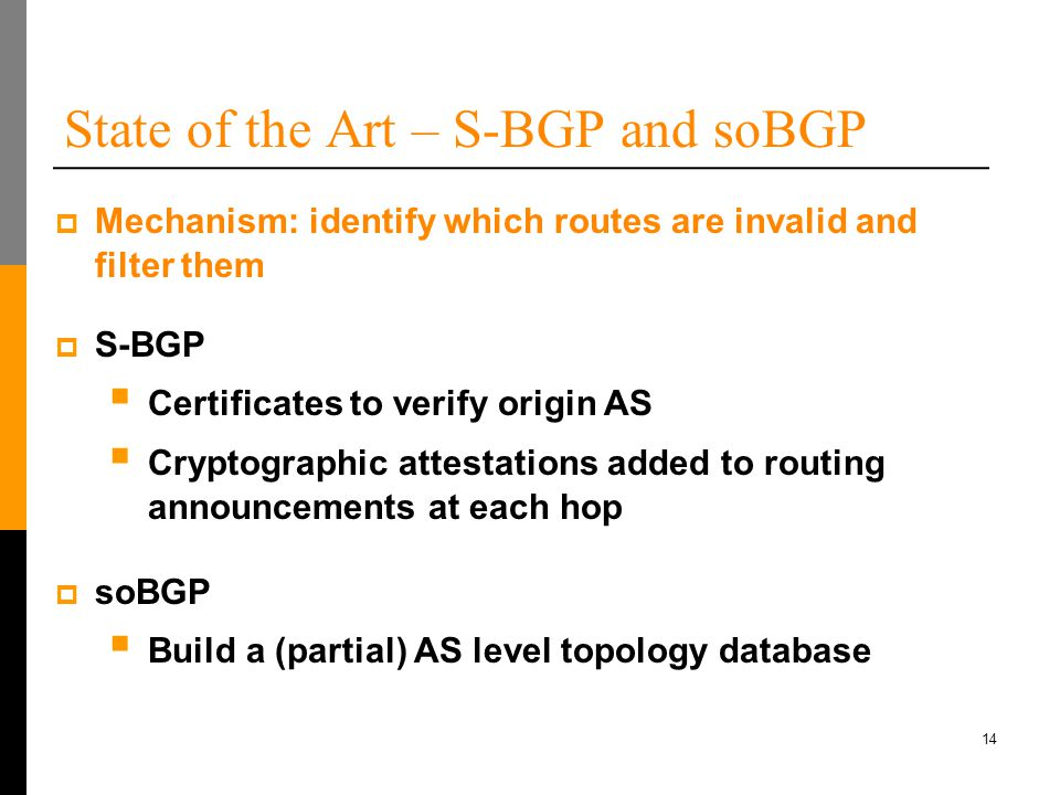 14 State of the Art – S-BGP and soBGP  S-BGP  Certificates to verify origin AS  Cryptographic attestations added to routing announcements at each hop  Mechanism: identify which routes are invalid and filter them  soBGP  Build a (partial) AS level topology database