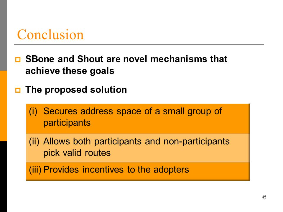 45 Conclusion  The proposed solution  SBone and Shout are novel mechanisms that achieve these goals
