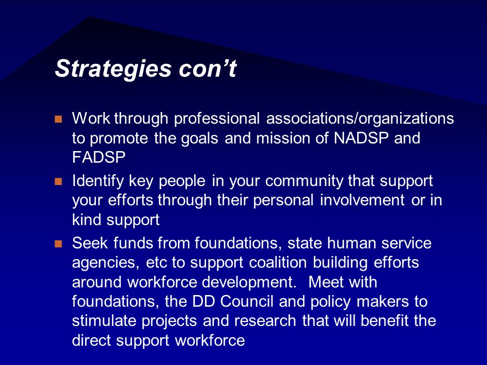 Strategies con't Work through professional associations/organizations to promote the goals and mission of NADSP and FADSP Identify key people in your