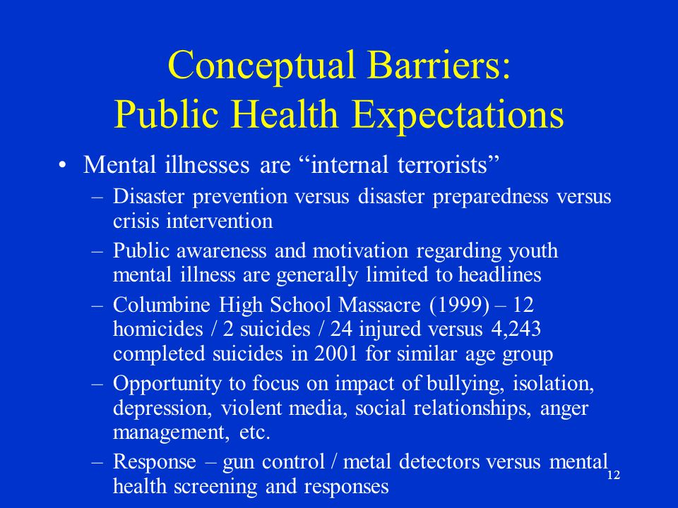 12 Conceptual Barriers: Public Health Expectations Mental illnesses are internal terrorists –Disaster prevention versus disaster preparedness versus crisis intervention –Public awareness and motivation regarding youth mental illness are generally limited to headlines –Columbine High School Massacre (1999) – 12 homicides / 2 suicides / 24 injured versus 4,243 completed suicides in 2001 for similar age group –Opportunity to focus on impact of bullying, isolation, depression, violent media, social relationships, anger management, etc.