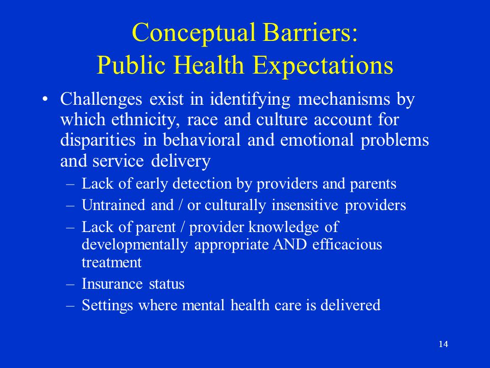 14 Conceptual Barriers: Public Health Expectations Challenges exist in identifying mechanisms by which ethnicity, race and culture account for disparities in behavioral and emotional problems and service delivery –Lack of early detection by providers and parents –Untrained and / or culturally insensitive providers –Lack of parent / provider knowledge of developmentally appropriate AND efficacious treatment –Insurance status –Settings where mental health care is delivered