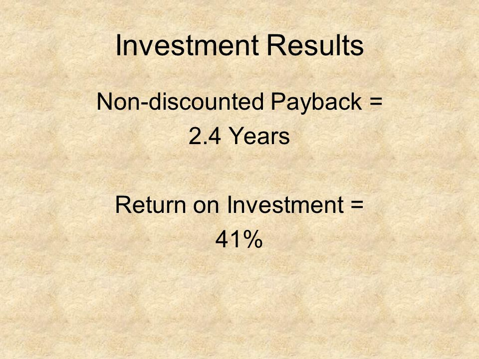 Investment Results Non-discounted Payback = 2.4 Years Return on Investment = 41%