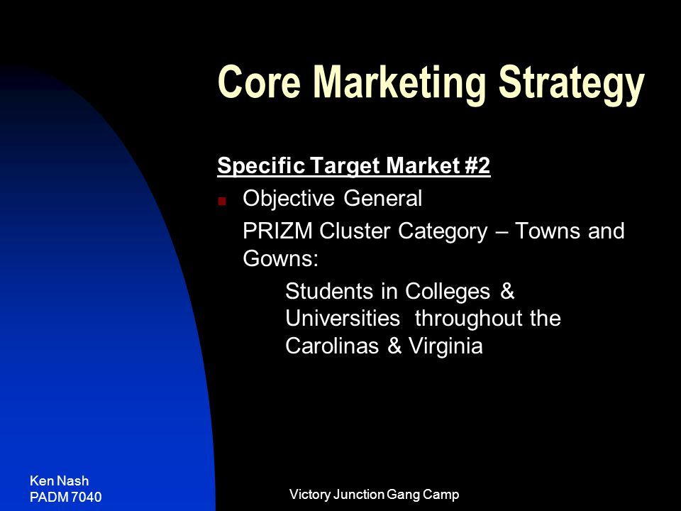 Ken Nash PADM 7040 Victory Junction Gang Camp Core Marketing Strategy Specific Target Market #2 Objective General PRIZM Cluster Category – Towns and Gowns: Students in Colleges & Universities throughout the Carolinas & Virginia