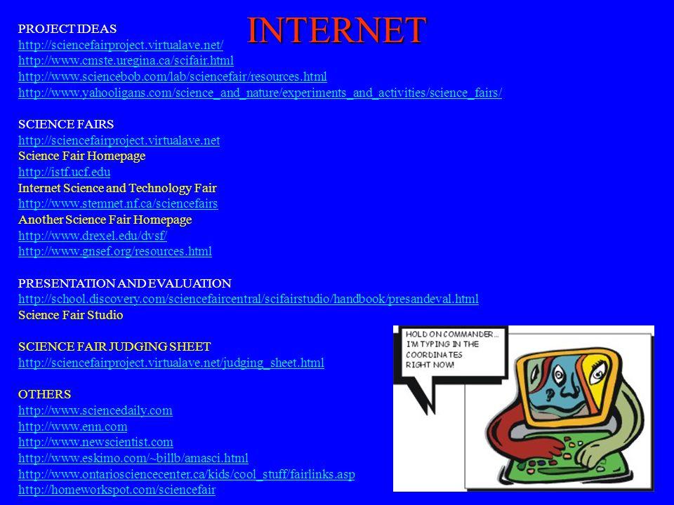 PROJECT IDEAS http://sciencefairproject.virtualave.net/ http://www.cmste.uregina.ca/scifair.html http://www.sciencebob.com/lab/sciencefair/resources.h