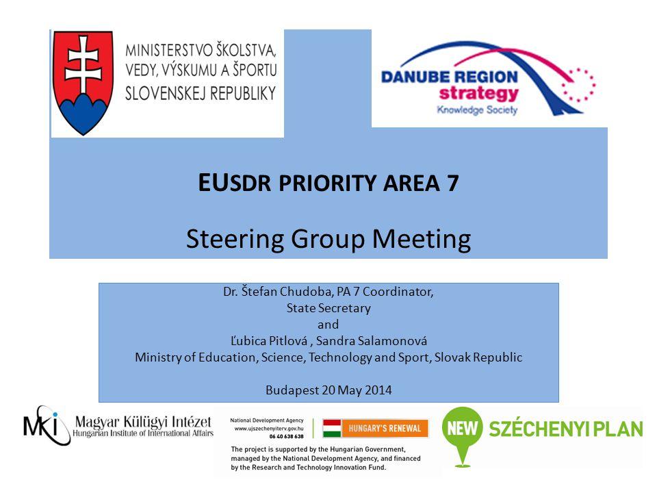 EU SDR PRIORITY AREA 7 Steering Group Meeting Dr. Štefan Chudoba, PA 7 Coordinator, State Secretary and Ľubica Pitlová, Sandra Salamonová Ministry of