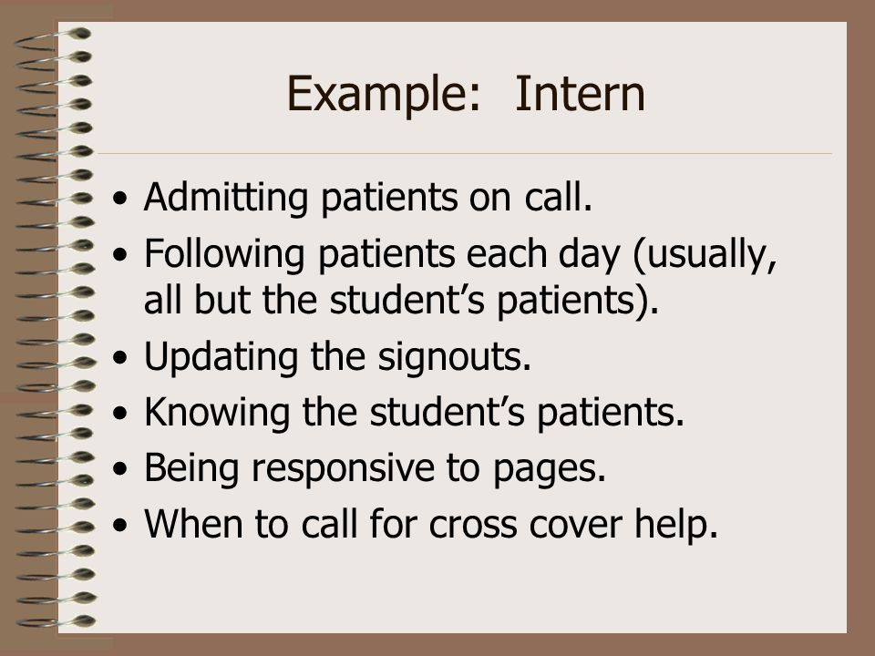 Example: Intern Admitting patients on call. Following patients each day (usually, all but the student's patients). Updating the signouts. Knowing the