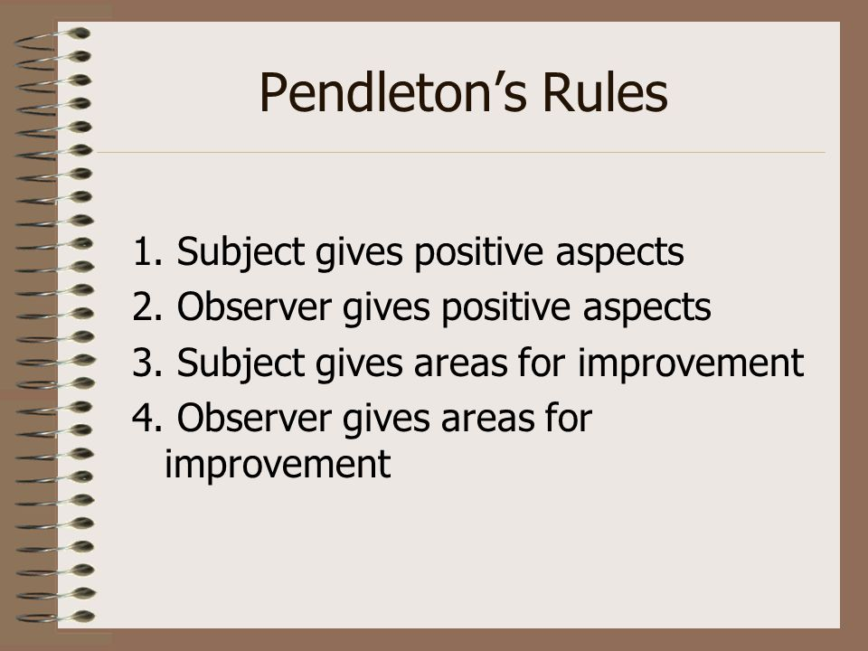 Pendleton's Rules 1. Subject gives positive aspects 2. Observer gives positive aspects 3. Subject gives areas for improvement 4. Observer gives areas