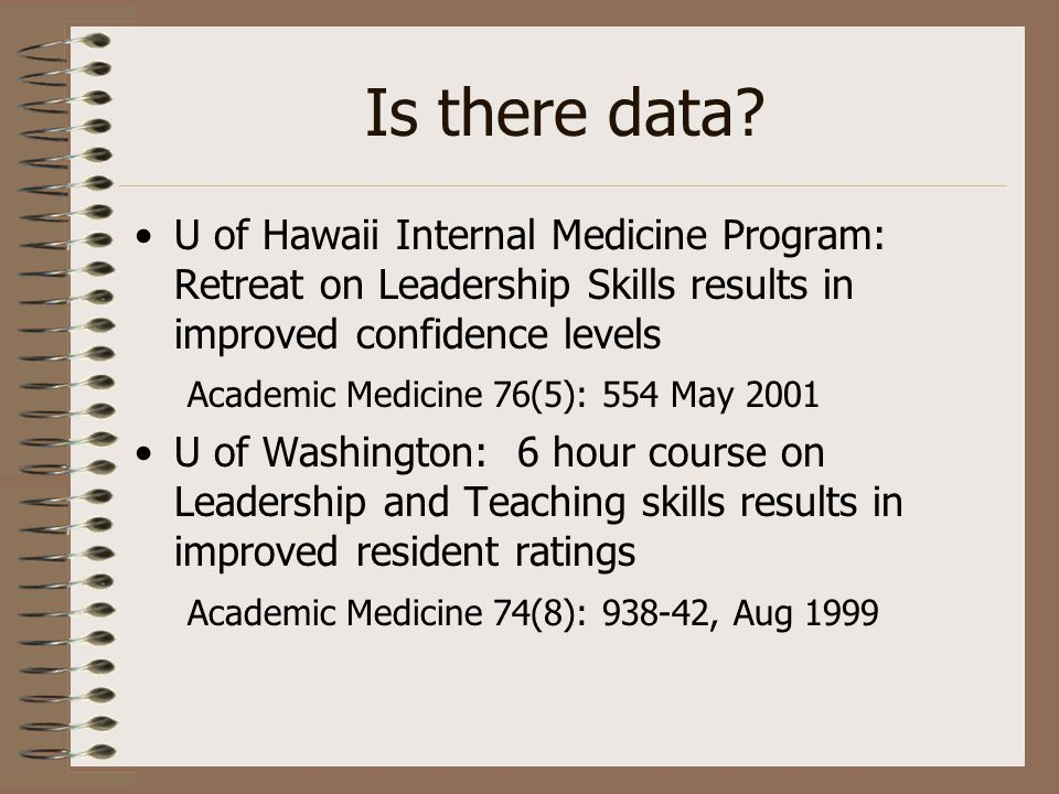 Is there data? U of Hawaii Internal Medicine Program: Retreat on Leadership Skills results in improved confidence levels Academic Medicine 76(5): 554