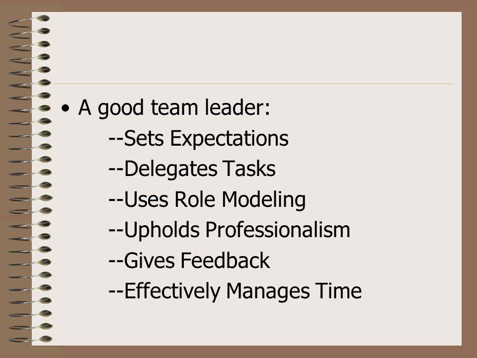 A good team leader: --Sets Expectations --Delegates Tasks --Uses Role Modeling --Upholds Professionalism --Gives Feedback --Effectively Manages Time