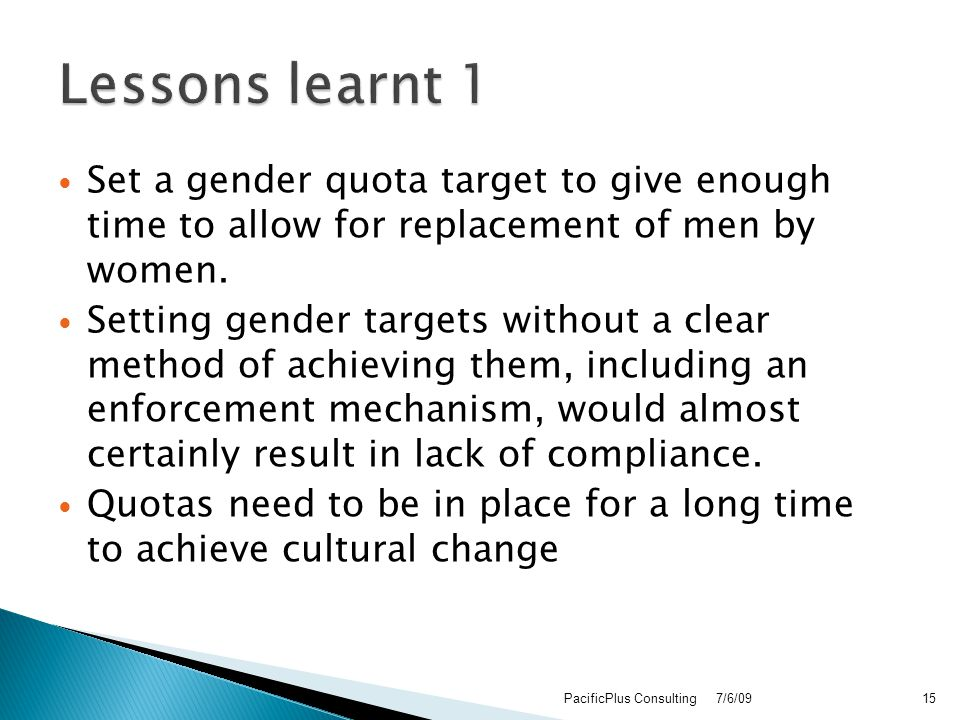 Set a gender quota target to give enough time to allow for replacement of men by women.