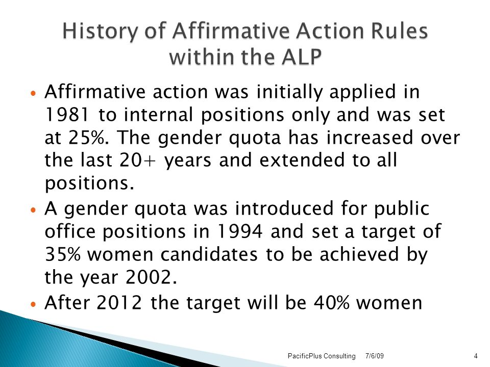 Affirmative action was initially applied in 1981 to internal positions only and was set at 25%.