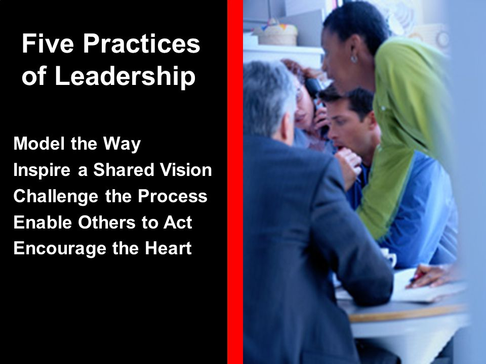 Model the Way Inspire a Shared Vision Challenge the Process Enable Others to Act Encourage the Heart Five Practices of Leadership
